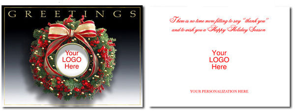 Logo Christmas Cards Custom Printed - Business Greetings Holiday Cards